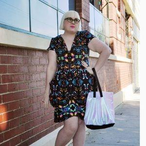 City Chic Neon Tropical Drape Floral Tunic Dress